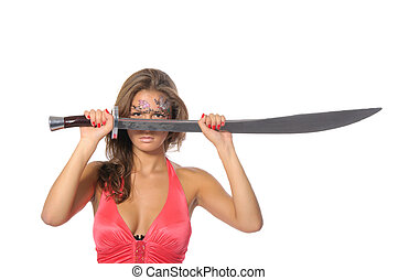 Young woman holds sword