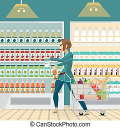 Young woman housewife in a supermarket with a full shopping cart of food purchased. Girl takes the goods and puts them in a cart. Flat cartoon vector illustration