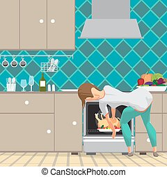 Young woman housewife takes a chicken out of an oven. Girl preparing food in the kitchen. Back view. Flat cartoon vector illustration