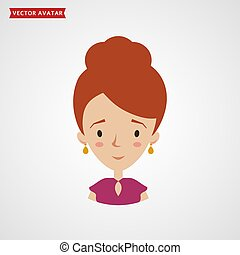 Young woman icon. Vector avatar.