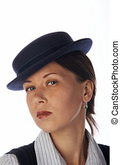 Young woman in 30\\\'s style hat