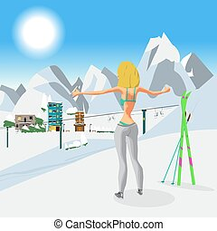 Young woman in a bikini in winter on top of a mountain. Girl sunbathing in a ski resort in the sun. Flat cartoon vector illustration