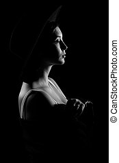 Young woman in a black hat - Beautiful young woman in a...