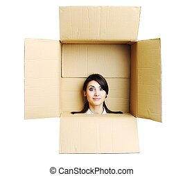 Young woman in a box