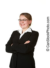 young woman in a business suit isolated on white background