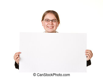 young woman in a business suit with a white sign