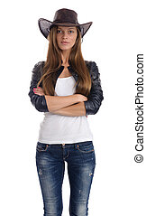 Young woman in a cowboy hat
