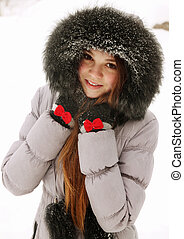 young woman in a fur hood