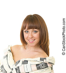 Young woman in a plush bathrobe