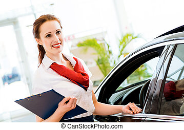 young woman in a showroom consultant