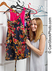 young woman in a showroom
