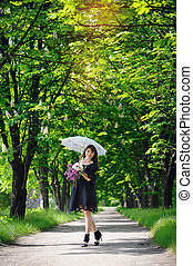 young woman in a spring park with an umbrella