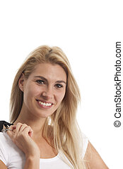 young woman in a white t shirt