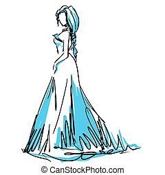 Young woman in beautiful evening dress. Fashion sketch
