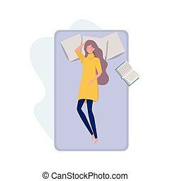 young woman in bed with sleeping pose