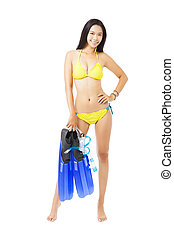 young woman in bikini holding equipment for snorkeling
