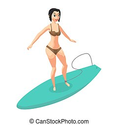 Young woman in bikini surfing. Girl surfer. Vector flat cartoon illustration isolated on a white background