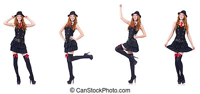 Young woman in black costume isolated on white