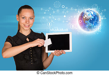 Young woman in black dress holging tablet and card