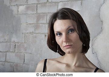 39972a04dda Brunette woman in black lingerie against the window Stock Image ...
