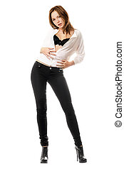 Young woman in black tight jeans