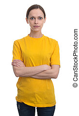 young woman in blank yellow t-shirt