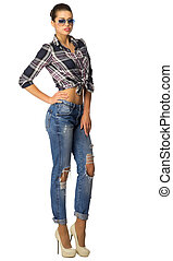 Young woman in blue jeans