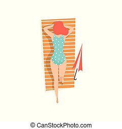 Young woman in blue swimsuit lying on her stomach and sunbathing on the beach, top view vector Illustration on a white background