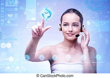 Young woman in business computing concept