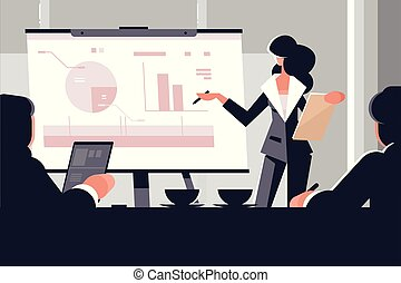 Young woman in business suit making presentation