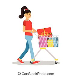 Young woman in casual clothes with a pony tail walking with a shopping cart cartoon character vector Illustration