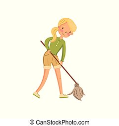 Young woman in casual clothing cleaning the floor with a mop, housewife in housework activity cartoon vector Illustration