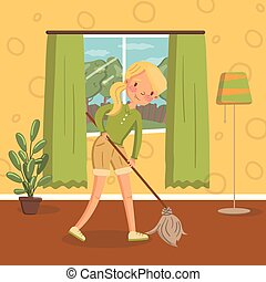 Young woman in casual clothing cleaning the floor with a mop in living room, vintage cozy home interior vector Illustration