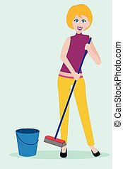 Young woman in casual clothing cleaning the floor with broom