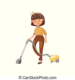 Young woman in casual clothing cleaning the floor with vacuum cleaner, housewife in housework activity cartoon vector Illustration