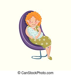 Young woman in casual clothing sitting at chair with newborn baby cartoon vector Illustration