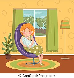 Young woman in casual clothing sitting at chair with newborn baby, room interior vintage style home vector Illustration