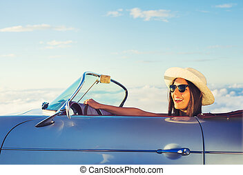 Young Woman in Classic Vintage Sports Car - Happy Young...
