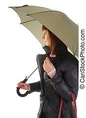 woman in coat under umbrella
