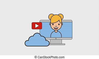 young woman in computer net work cloud storage