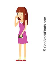 Young Woman in Depression Flat Vector Illustration