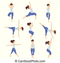 Young woman in different asanas poses set, girl doing yoga exercises vector Illustrations on a white background