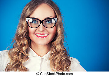 young woman in glasses