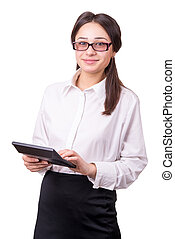 young woman in glasses with a calculator