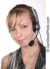young woman in headset
