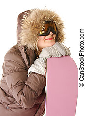 Young woman in hood with snowboard