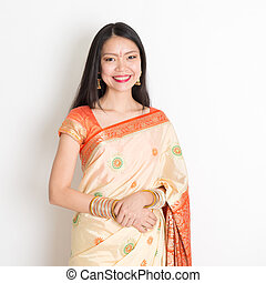 Young woman in Indian sari