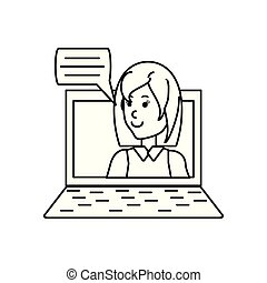 young woman in laptop with speech bubble