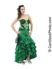 young woman in long green dress