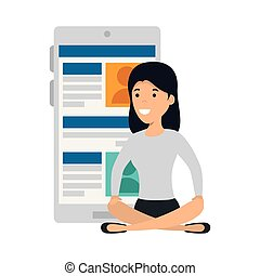 young woman in lotus position with smartphone